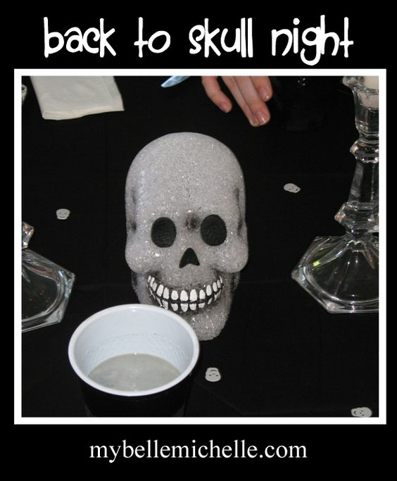 """When summer is over and kids have to go back to school have a """"Back to Skull"""" dinner - the family is """"in mourning"""" because the summer is over, so eat black food, wear black clothes, talk in a somber, sad voice. Very cute idea. The little kids would love this. haha."""
