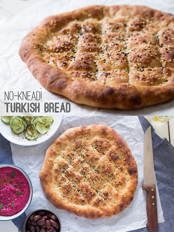 A delicious, pillowy no-knead turkish bread. It's quick and easy to make and super addictive once it comes out of the oven!
