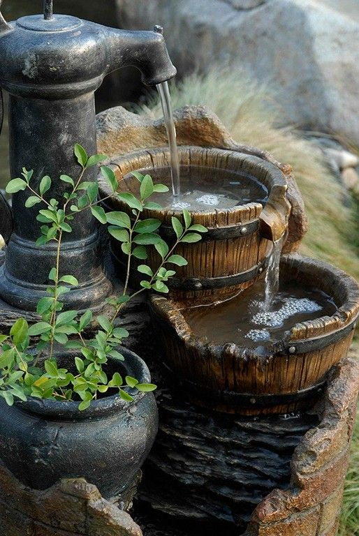 15 Awesome Rustic Garden Fountain Inspirations Diy Garden Fountains Fountains Outdoor Rustic Gardens