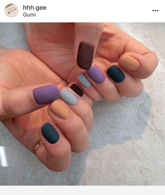 Multicolor Matte Nails Trendy Nails Manicure Gel Nails