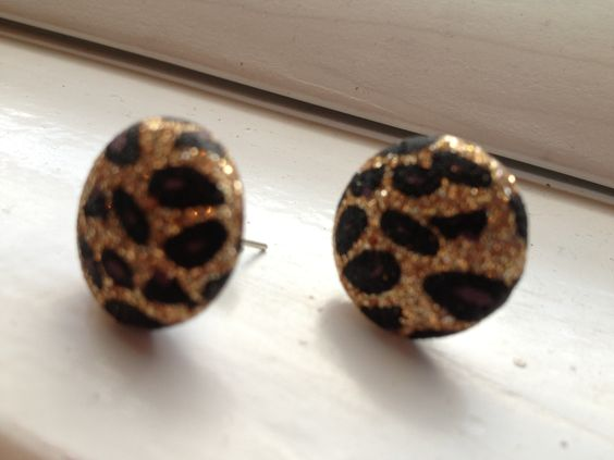cutest cheetah sparkle earrings claires big stud black and gold