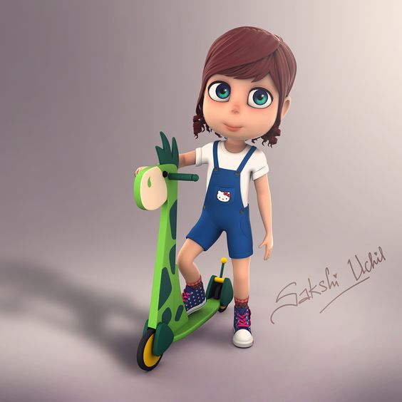 Character Concept Design Maya And Vray : Cute little girl on behance character d model