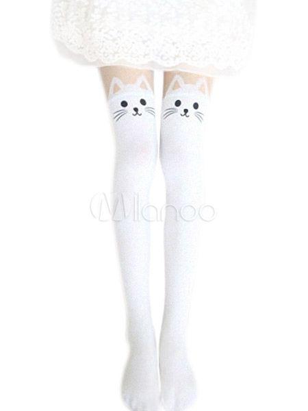 Harajuku Velvet Lolita-Schenkel-hohe Socken Nette Katzen-Druck in Weiß Schwarz