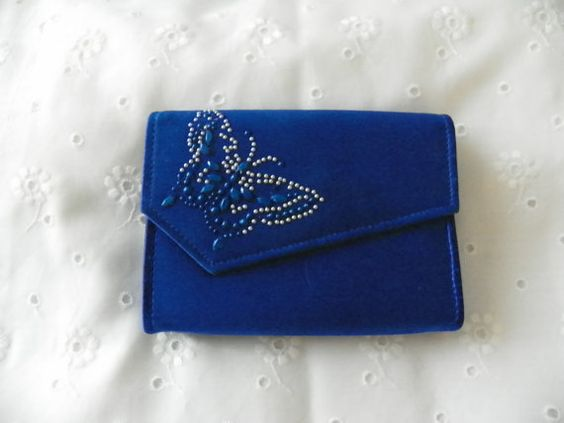 Upcycled Royal Blue Evening Clutch Butterfly by YoursOccasionally, $11.00