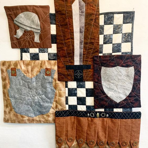 Armor of God wallhanging. For my oldest son on his own at college. It's been in my brain percolating for 5 years. Thinking about making a pattern for others to make. What do you think? #artquilt #longarmquilter #quiltsofinstagram #quilting #armorofgod