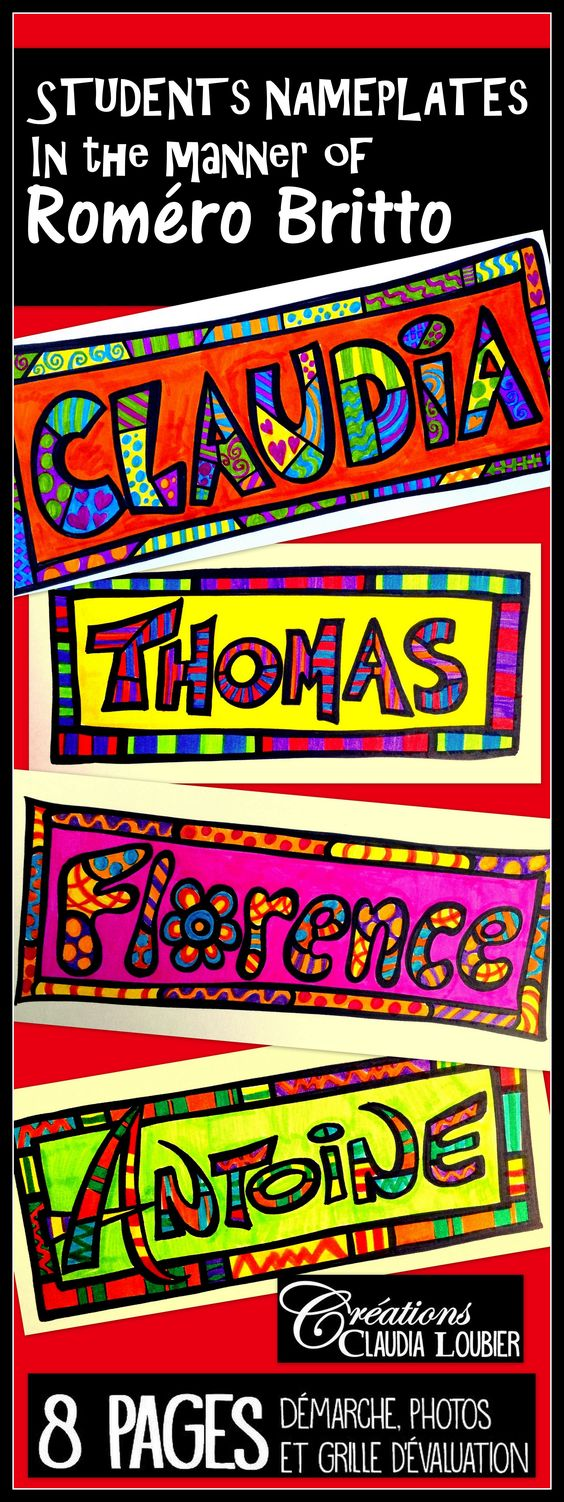 Start your year of artistically with this fun and enriching activity. Here is an art project to identify your student's desks. With this project, each student is shown how to create their name in the manner of Roméro Britto. You will also find an exercise sheet to work with patterns (called 'LES MOTIFS', free in my boutique).  At the end of this document you will see other resources to add colour to your classroom, as well as other projects for the beginning of the school year.