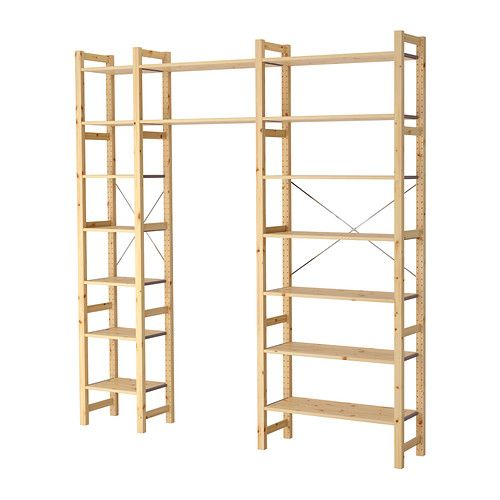 ivar 3 sections shelves ikea even cheaper idea cut down sides hang clothes rods from. Black Bedroom Furniture Sets. Home Design Ideas
