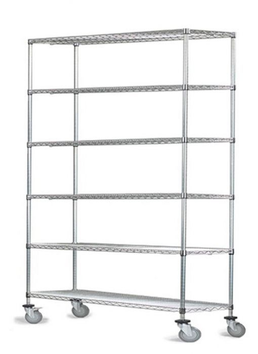 12 Deep X 72 Wide X 60 High 6 Tier Stainless Steel Wire Mobile Shelving Unit With 1200 Lb Capacity Mobile Shelving Wire Shelving Shelves