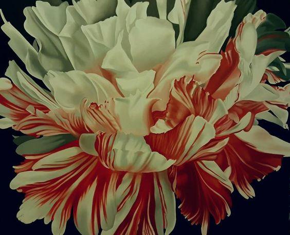 "Saatchi Art Artist Luigi Maria de Rubeis; Painting, ""STRIPED PEONY"" #art"