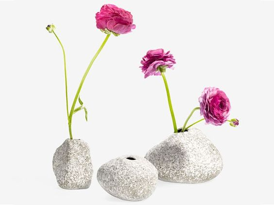 Grab a few buds from the garden for an unfussy look with this stone-shaped vase set -- #bathroomdecor #girly