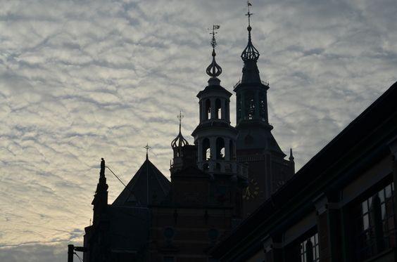 The Hague, The Netherlands. Groenmarkt, Sky at dusk...