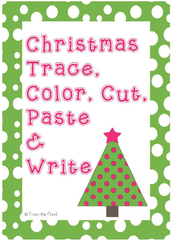 math worksheet : christmas trace cut color paste worksheets kindergarten writing  : Color Cut And Paste Worksheets For Kindergarten