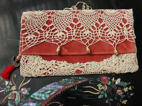 Original one of a kind clutch creation by Ilumina2 studio.    Thick, upholstery pure cotton velvet fabric in a deep salmon color with a vintage cotton
