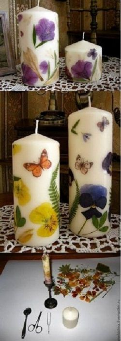 Easy to make decorated candles. I think these are so adorable!!! ♥