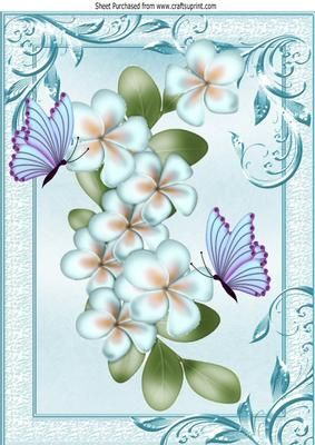 Pretty blue flowers with butterflies in ornate frame A4 on Craftsuprint - Add To Basket!: