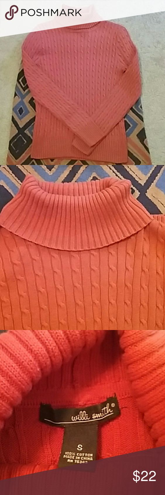 PUMPKIN SPICE CABLE KNIT SWEATER SIZE SMALL BEAUTIFUL CABLE KNIT SWEATER BY WILLI SMITH. FABULOUS COLOR FOR FALL 2016. 100 %COTTON PRE LOVED IN PERFECT CONDITION  BUST LAYING FLAT  IS 16 INCHES  LENGTH IS  23 INCHES  SLEEVES 24 INCHES  NICE AND SOFT Willi Smith Sweaters Cowl & Turtlenecks