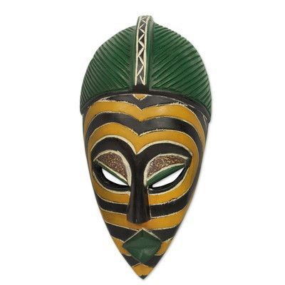 Novica Abdul Salami Amadu Yellow Zebra African Sese Wood Mask Wall Decor