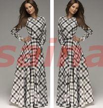 Vestido o pescoço Casual completa, xadrez de manga elegante mulheres maxi dress(China (Mainland))