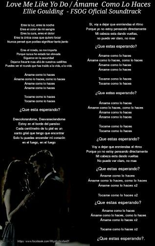letra en espa ol love me like you do ellie goulding fifty shades fans pinterest like you. Black Bedroom Furniture Sets. Home Design Ideas
