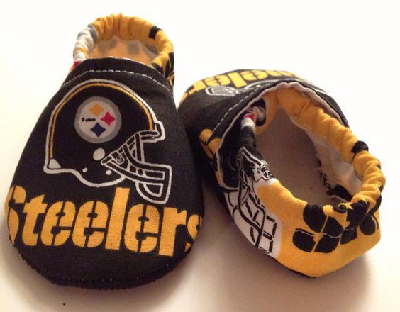 Pittsburg Steelers Cloth Baby Booties by saluna on Etsy, $15.00