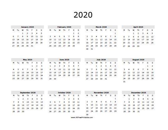 2020 One Page Calendar Printable Calendar Printables Free