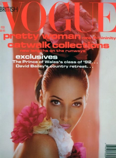 Christy Turlington on the cover of British Vogue. I loved this cover (early 90's)...Christy my Fave 'Supermodel'