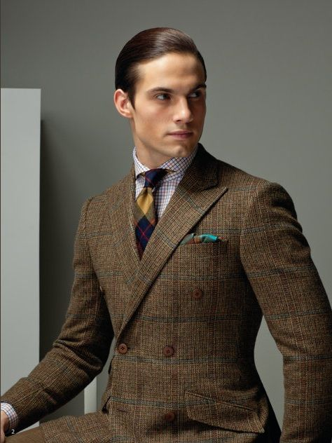 brown checked double-breasted sports coat, nice accessories