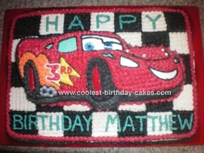 Lightning McQueen Cake: This Lightning Mcqueen cake was made for my son's 3rd birthday party! I used the Wilton Lightning McQueen cake pan, however it didn't seem enough for the