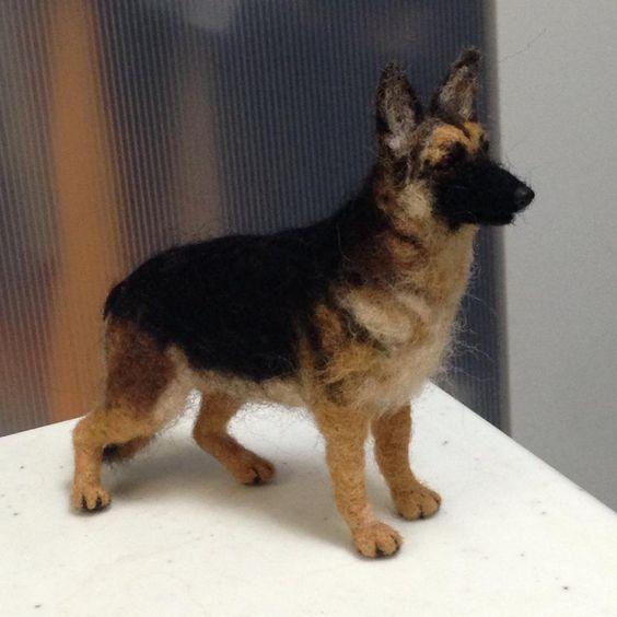Needle Felted Super Realistic German Shepherd Dog Still