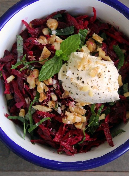 Raw Beetroot, Walnut and Mint Salad with Cumin Labne. Recipe and photography by Kelly Gibney.