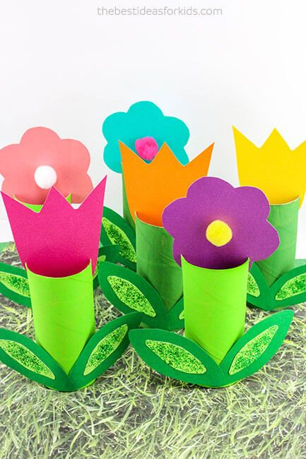 Toilet Paper Roll Kids Craft Flowers