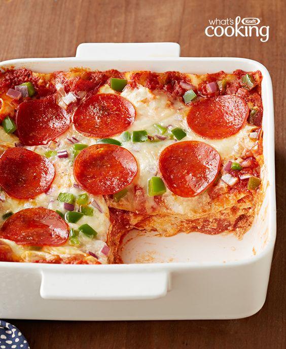 Easy Pepperoni Pizza Lasagna #recipe