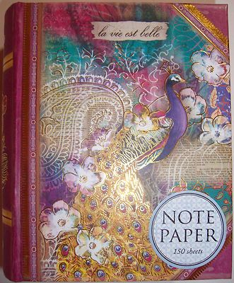 pUNCH sTUDIO Peacock Decorative Note Paper in Small Vintage Keepsake Book Box
