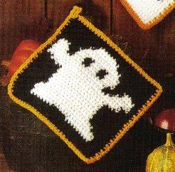 Halloween ghost potholder -- free crochet pattern