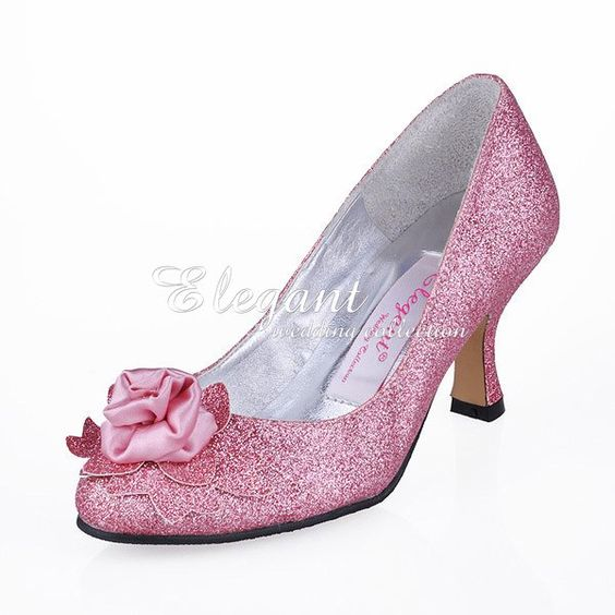 EP11098 Sexy Pink Ladies' Pumps Almond Toe Handmade Flower Spool Heel Glitter Evening Dress Party Shoes-in Pumps from Shoes on Aliexpress.com