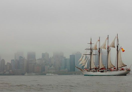 After a 14-day cruise from Santo Domingo (Dominican Republic), the training ship 'Juan Sebastián de Elcano' called at New York City for the 31st time.   The ship sailed through the Hudson River before docking at NY to support the Spanish candidature as non-permanent member of the United Nations Security Council for the period 2015-16. The crew also participated in an intense schedule of events during the port of call.