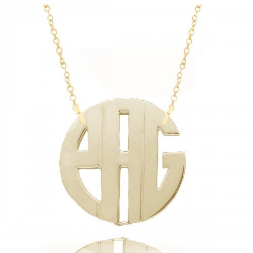 "Personalized Monogram Initials Necklace 1"" Sterling Silver w/ 24K Gold $65"