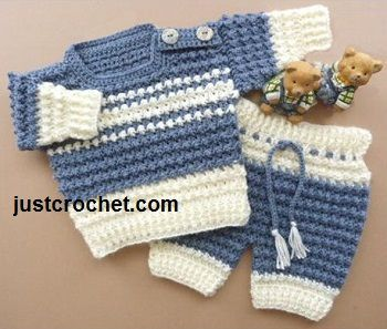 Free baby crochet pattern for sweater and pants set http://www.justcrochet.com/boys-sweater-usa.html #justcrochet: