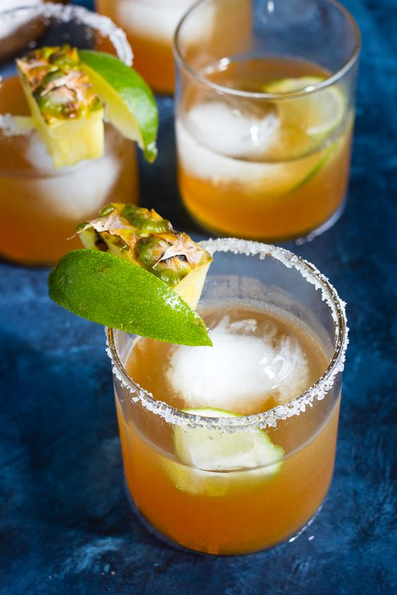 Mezcal margaritas with roasted pineapple