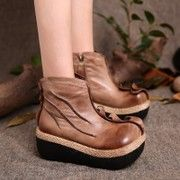 原创头层牛皮民族手工靴子女短靴复古擦色松糕跟单靴真皮女靴厚底