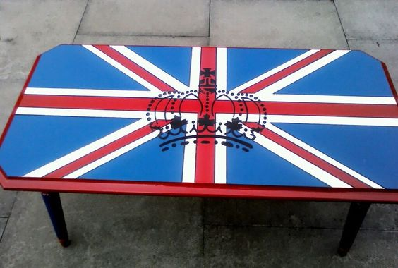 Retro Upcycled Kitsch Union Jack Coffee Table Chalk Painted Furniture Ideas Pinterest
