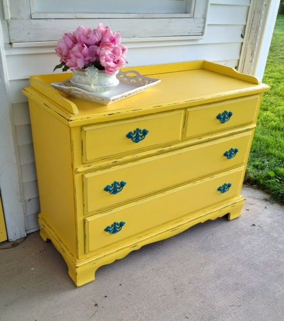 Ary Ann's Place: Darling Shabby Yellow Dresser