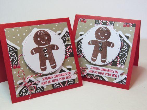Carte bonhomme pain d'épice, Carte de Noël, Carte des fêtes, Carte joyeux Noël, «Pain d'épice» Stampin' Up! de la boutique Lamainalacarte sur Etsy