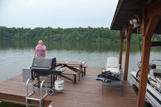 Boat dock with grill