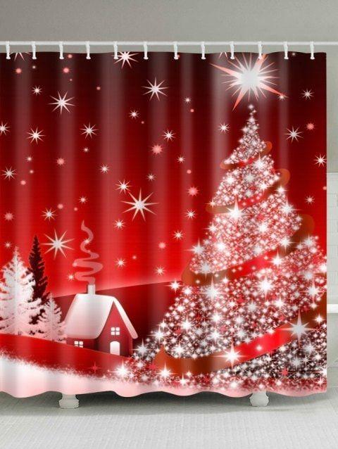 Christmas Tree Polyester Waterproof Shower Curtain Christmas