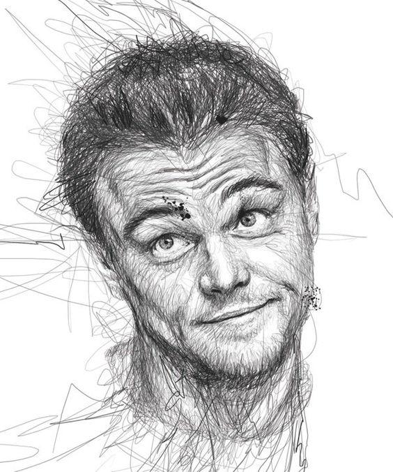 Vince Low Crée de Magnifiques Portraits de Célébrités à partir de Gribouillages au Crayon - Leonardo Di Caprio