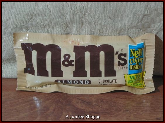 """M & M's Almond Candy 1995 """"New Blue Color"""" Package Unopened  P733  http://ajunkeeshoppe.blogspot.com/"""