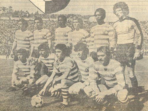 Sporting 1978-79 com Laranjeira, Bastos, Keita, Marinho, Jordão e Botelho. Ademar, Manuel Fernandes, Inácio, Zandonaide e Artur.