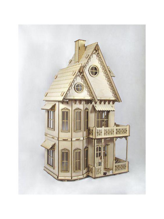 Victorian dollhouse dollhouse kits and dollhouses on for Plan victorian dollhouse