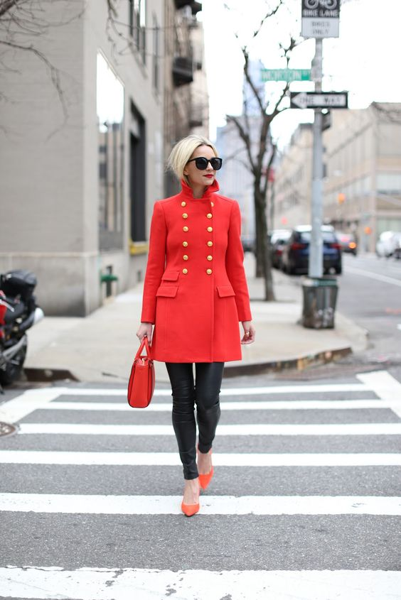 statement coats red double breasted